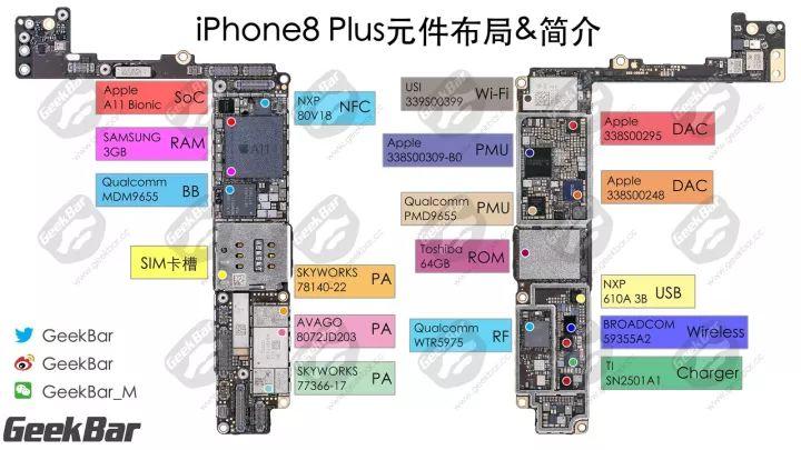 iPhoneXマザーボードの部品配置