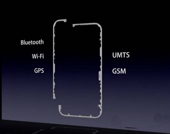 iPhone4の金属製フレーム構造