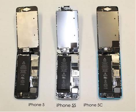 iPhone5・5s・5Cの内部比較