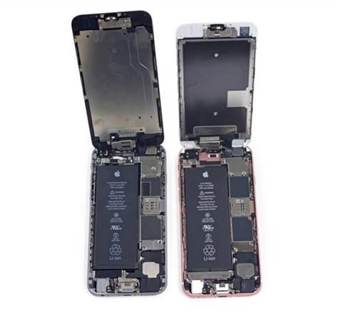 iPhone6とiPhone6Sの内部部品配列対比