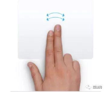2本の指を左や右へ軽くスライド